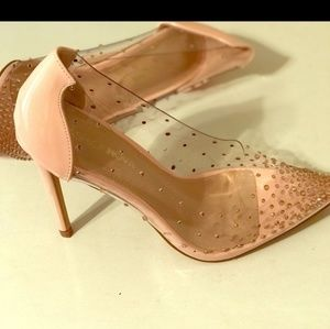 Fashion Nova Clear and Rose Gold Pumps sz 7.5